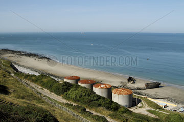 Tanks of the old fuel pumping station that was built in the late 1950s by the French State  then member of the O.T.A.N. Today  this station is transformed into a marine farm in Octeville-Sur-Mer  Normandy  France