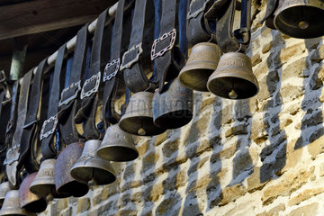 Bells of Montbeliard cows hung under the roof of a farm for decoration  Doubs  France