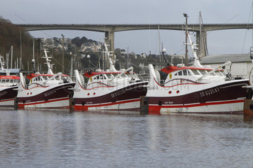 Offshore trawlers in the port of Le Legue in Saint-Brieuc  Brittany  France