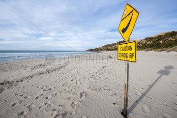 Rip current prevention sign  Kangaroo island  South Australia