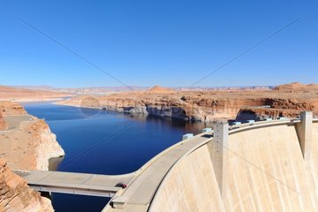 Glen Canyon Dam site  the construction of which created the famous Lake Powell  near Page  Arizona / Utah  USA