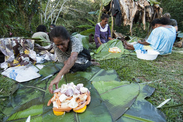 Kanak women preparing bougna  traditional Kanak dish stewed and served with meat. Feast of the new yam. Tribe of Gohapin. New Caledonia.