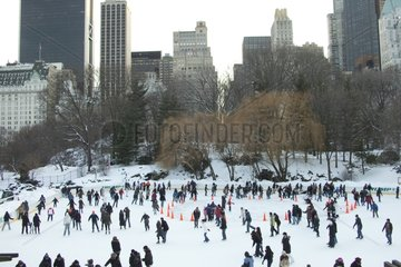 Crowd on the rink in Central Park in winter New York