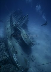 Wreck of the ship Oro Verde in the bottom of the Caribbean sea