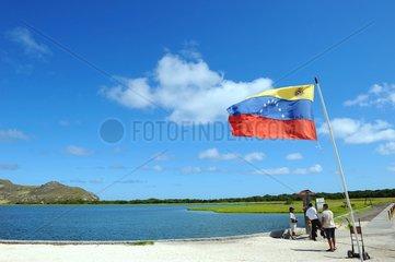 Venezuela flag in the Archipelago of Los Roques NP