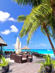 Terrace of a luxury hotel and turquoise sea  Rangiroa  French Polynesia