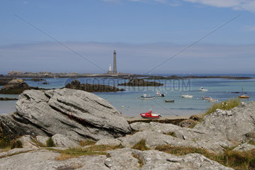 Lighthouse of the Virgin Island (the highest in Europe) in Plouguerneau  seen from the locality of Kastell Ac'h  Brittany  France