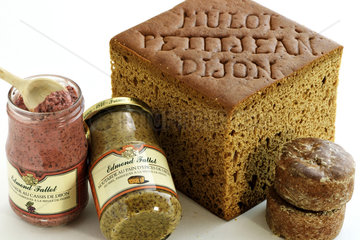 Specialties of the city : Mulot and Petitjean spice breads  with the cut  Nonnette de Dijon  Edmond Fallot mustard  IGP Mustard of Burgundy  jars  gingerbread  Dijon blackcurrant  Dijon  Cote d Or  France
