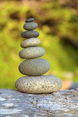 Pebbles in balance. Tofino  Vancouver Island  British Columbia  Canada