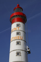 Painting work on the Saint-Mathieu lighthouse in Plougonvelin  Brittany  France