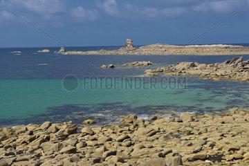 Former Granite quarry at low tide on Ile Grande  Côtes d'Armor  Brittany  France