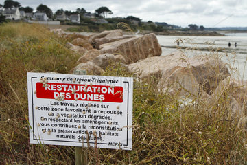 Information panel concerning the restoration of the dunes in the municipality of Trevou-Treguignec  Brittany  France