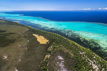 Aerial view of the dry forest of the littoral and lagoon of Poe. Western coast. World Heritage area of Unesco. New Caledonia.