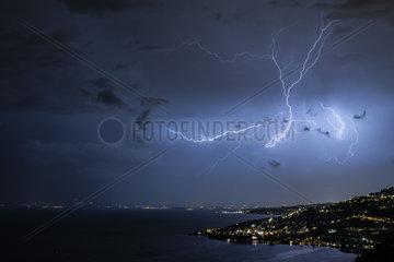 Lightning strike over Lausanne and Lake Geneva  Switzerland  June 5  2018