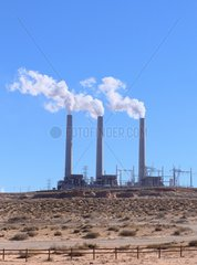 The 3 chimneys of the Navajo Coal Power Station (Salt River Project) near Page  Arizona  USA. The plant is disputed because it is very polluting.