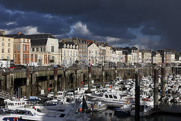 Stormy sky above the port of Dieppe  Normandy  France