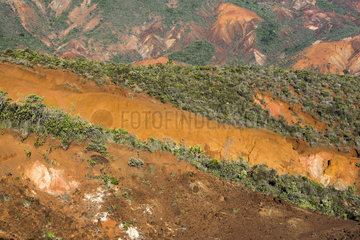 Landscape of degraded mining maquis in New Caledonia. Erosion of mining scrub soils due to repeated fires. Municipality of Mont-Dore. New Caledonia.