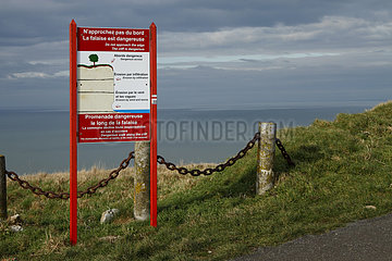 Information panel on the dangerous edge of the cliffs on the heights of Treport  Normandy  France