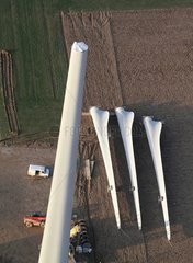 Assembling a wind turbine - Picardy France