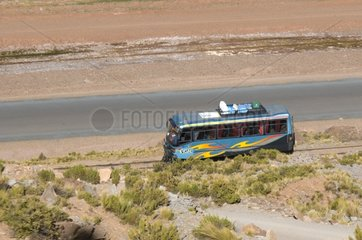Bus running on rails toward Comanche - Bolivia