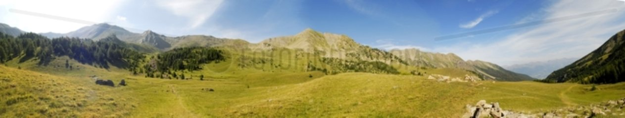 Panoramic shot of mountain pastures near Ste Marguerite lake