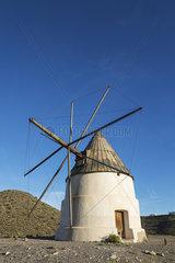 The windmill Molino del Collado de los Genoveses. Nature Reserve Cabo de Gata-Nijar  Almeria province  Andalusia  Spain.