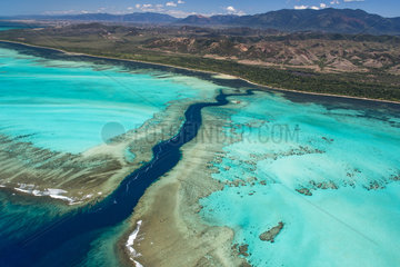 Rift in the reef and lagoon of the west coast  Lagoon of Poe. West Coastal Area World Heritage Site by Unesco. New Caledonia.