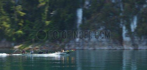 Boat on Cheow Larn lake Kaho Sok NP Thailand