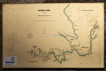 Detailed map of Krizna jama  cave where remains of over 100 Cave bears (Ursus ingressus) have been found  Blo?ka polica  Slovenia