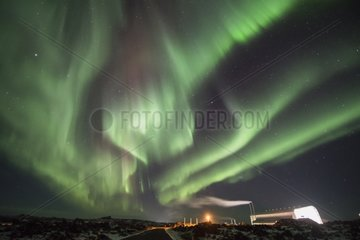 Aurora borealis and Geothermal Power Plant - Iceland