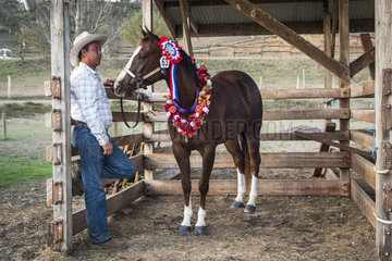 Award-winning horse and its owner  Bourail Agricultural Fair. New Caledonia.