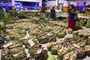 Baskets of tubers on the Port Vila market  Efate Island. Vanuatu.