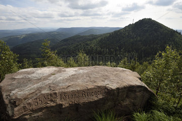 Stele of French soldiers  commemorative inscription at the top of Petit Donon  place of fierce fighting in 1914  World War I  overlooking Grand Donon  Hautes Vosges  Bas Rhin  France