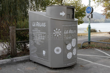 Container for collecting household linen  clothes  shoes and small leather goods for the needy along the Kir Lake in Dijon  Cote-d'Or  France