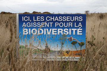 Information boards indicating that hunters act for biodiversity in Seine-Maritime  France