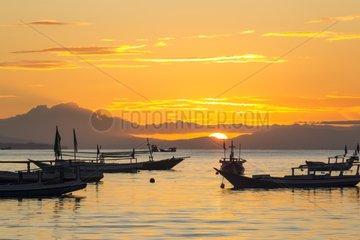 Boats at sunrise - Lamakera Solor Island Indonesia