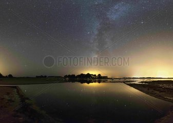 Milky Way reflecting in an oyster basin - Britain France