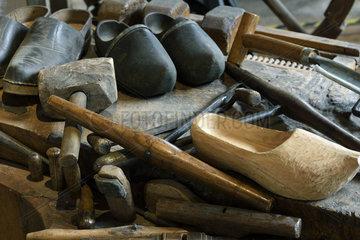 Clogs  workbench  tools  clog maker workshop  museum Espace des metiers du Bois Et du Patrimoine in Labaroche  Haut Rhin  France
