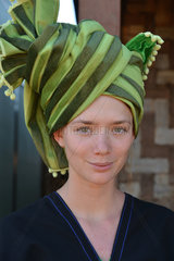 Belgian traveler met in Burma on a trek between the city of Kalaw and Inle Lake. She wore a Burmese outfit  ethnic Pao