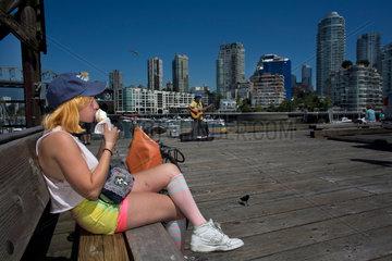 girl having an icecream on vancouver island
