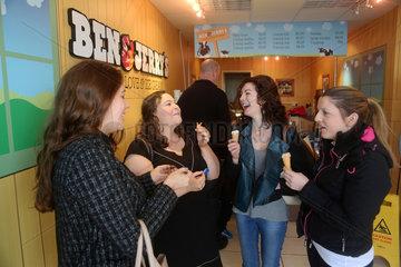 girls eating icecream at Ben&Jerrys in Northern Ireland