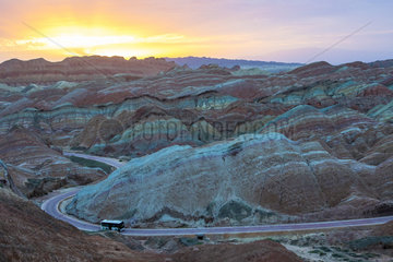 Eroded hills of sedimentary conglomerate and sandstone  Unesco World Heritage  Zhangye  China