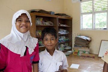 Pupils at the school library Pulau Weh Sumatra