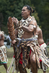 Futuna dancer in traditional dance clothes  Cultural festival. Town of Common Poya. New Caledonia.