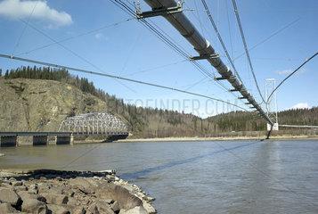 Trans Alaska Pipeline System (TAPS) crossing the Tanana River at Big Delta north of Delta Junction  Alaska