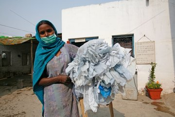 Collection of plastic bags in the streets New Delhi India