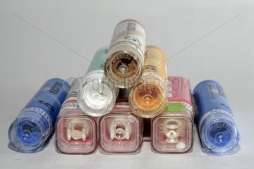 Tubes of granules Homeopathy on white background