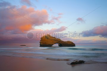 Rock breakthrough at dawn - Biarritz Basque Country France