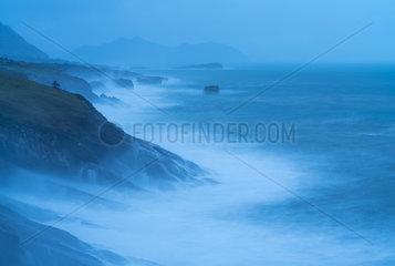 Storm and Big Waves  Islares  Cantabrian Sea  Montaña Oriental Costera  Castro Urdiales Municipality  Cantabria  Spain