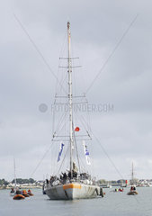 Arrival in Lorient (city of sailing) of the schooner Tara  after 2 years of expedition to the Pacific to study corals (October 27  2018)  France